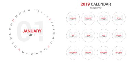 2019 circle calendar vector design.