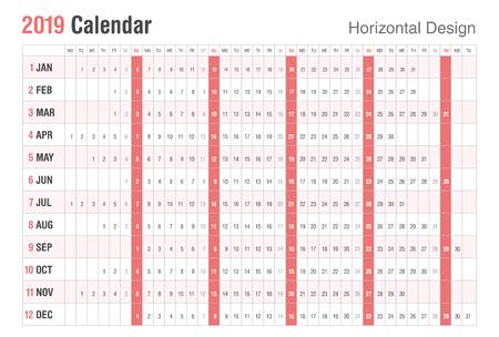 Horizontal 2019 Calendar design.