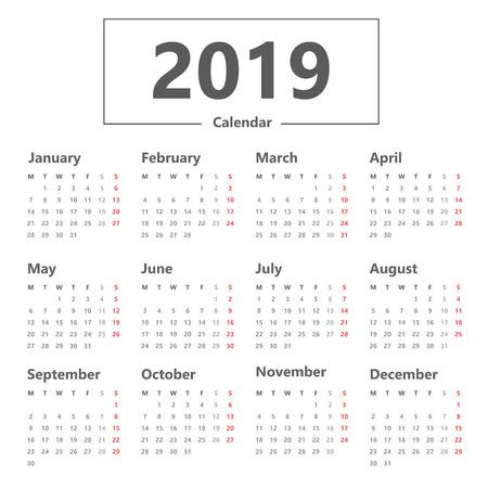 Simple 2019 Calendar design.