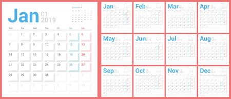 Calendar 2019 Planner Design. Starts Sunday.