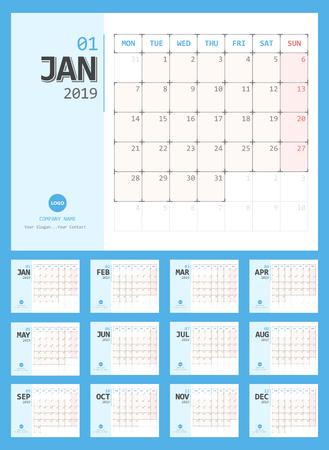 Calendar 2019 Planner Design. Starts Monday.