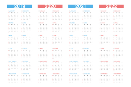 Calendar next 4 year simple style on white background. Week starts Sunday. Фото со стока - 115556216