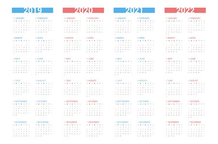 Calendar next 4 year simple style on white background. Week starts Sunday.