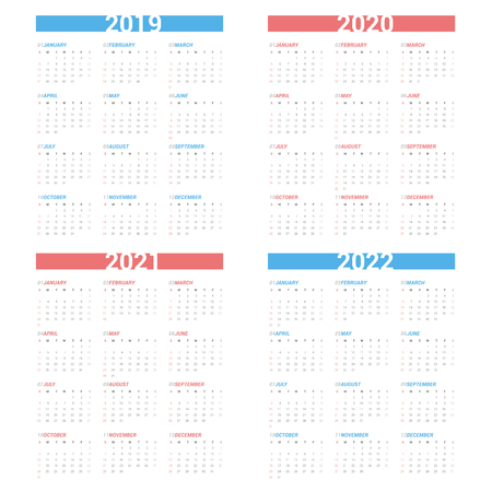 Calendar next 4 year simple style on white background. Week starts Sunday. Stok Fotoğraf - 115556218