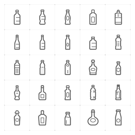 Icon set – bottle and beverage outline stroke vector illustration on white background Stok Fotoğraf - 120809626