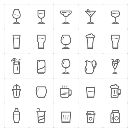 Icon set – glass and beverage outline stroke vector illustration on white background Фото со стока - 120809629