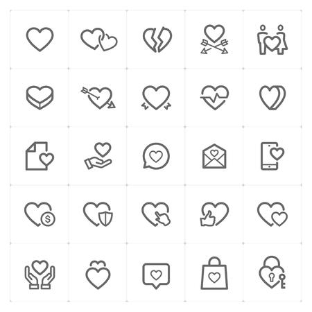 Icon set – heart outline stroke vector illustration on white background