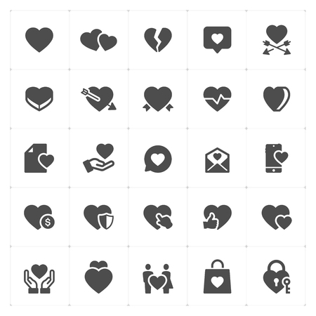 Icon set - heart vector illustration on white background