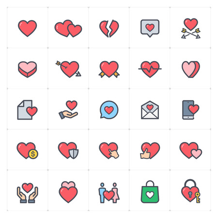 Icon set - heart full color vector illustration on white background