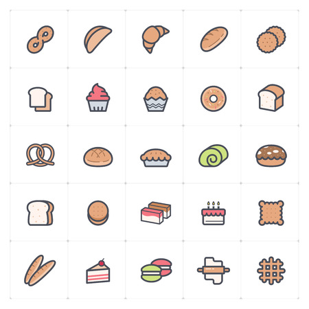 Icon set - bakery and bread full color vector illustration on white background