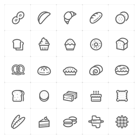 Icon set - bakery and bread outline stroke vector illustration on white background