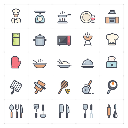 Icon set - kitchen utensils and cooking full color vector illustration on white background Çizim