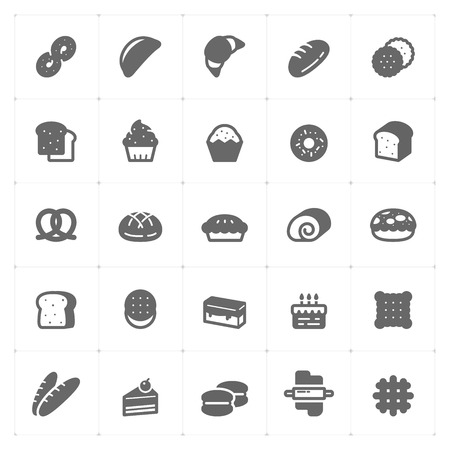 Icon set - bakery and bread vector illustration on white background Çizim