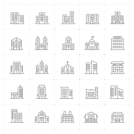 Icon set - Building thin line high detail vector  illustration on white background