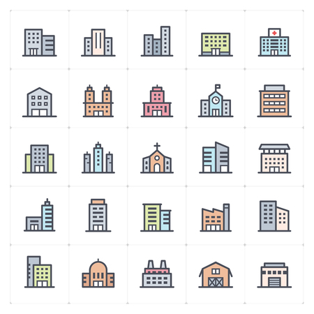 Mini Icon set - Building full color icon vector illustration – Vector