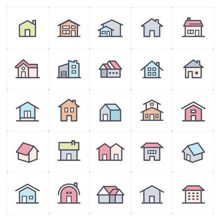 Icon set - Home icon full color vector illustration