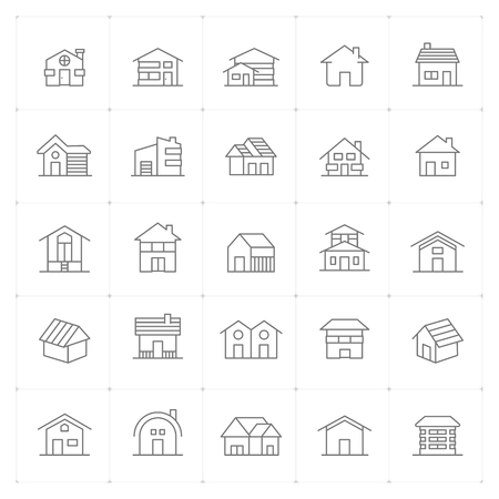 Icon set - Home thin line high detail vector illustration on white background Фото со стока - 120809645