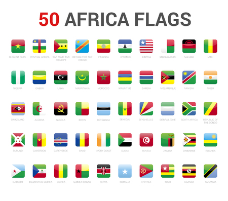Africa flags of country. 50 flag rounded square icons Vector on White background. Фото со стока - 120809646