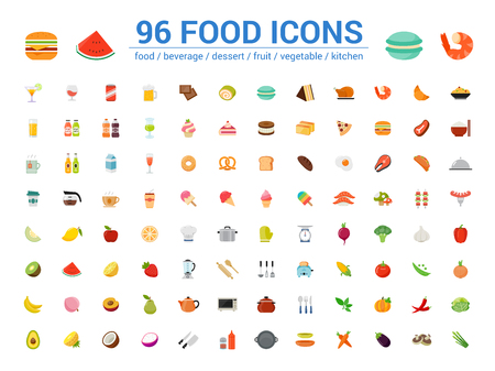 96 food full color icons set. Vector illustration on white background Фото со стока - 120809932