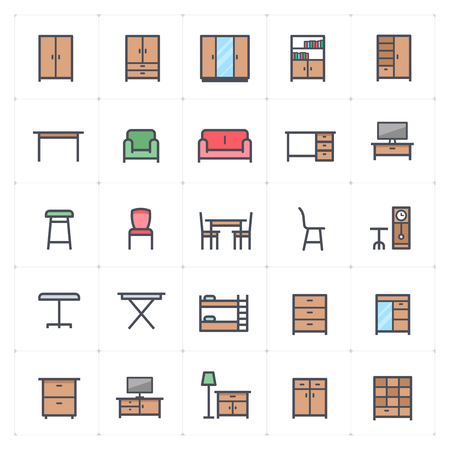 Mini Icon set - Furniture full color icon vector illustration Stok Fotoğraf - 125206510