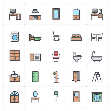 Mini Icon set - Furniture full color icon vector illustration