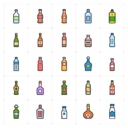 Icon set - bottle and beverage full color outline stroke vector illustration on white background