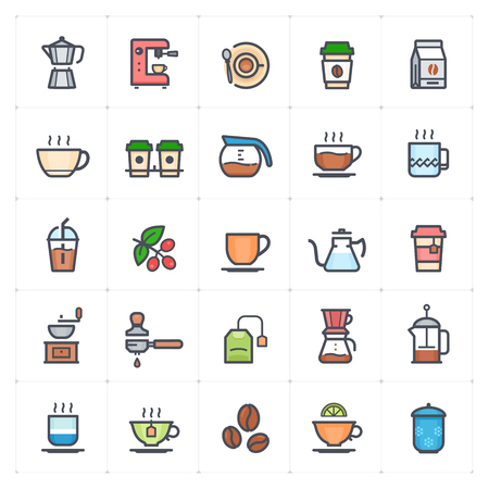 Icon set - coffee and tea full color outline stroke vector illustration on white background