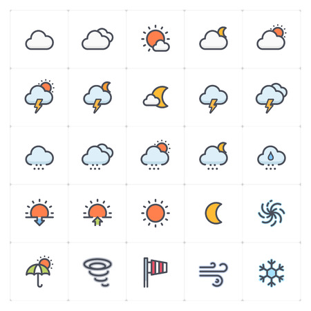 Icon set - weather and forecast full color icon style vector illustration on white background