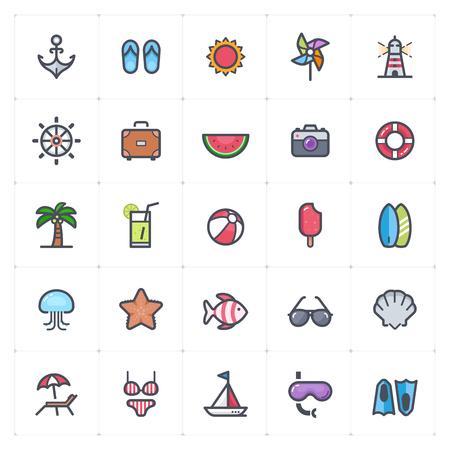 Icon set - Beach full color outline stroke vector illustration on white background