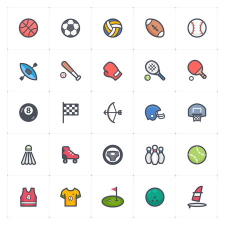 Icon set - Sport and activity full color outline stroke vector illustration on white background Stok Fotoğraf - 126017950