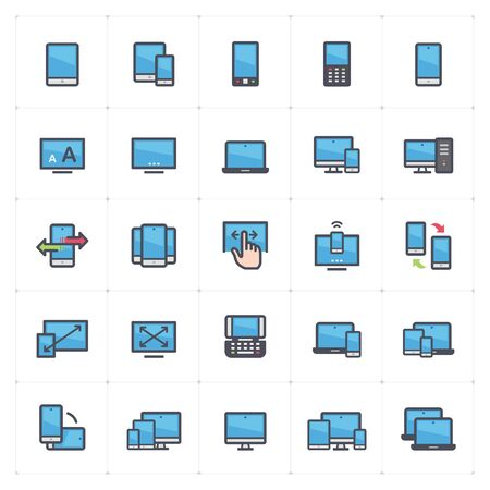 Icon set - device and responsive outline stroke full color vector illustration