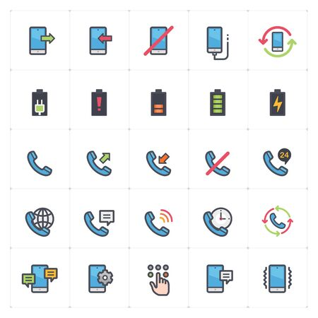 Icon set - phone and calling full color outline stroke vector illustration.