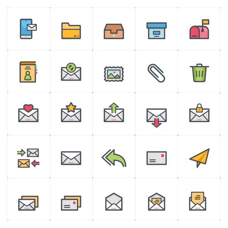 Icon set - email and letter full color outline stroke vector illustration