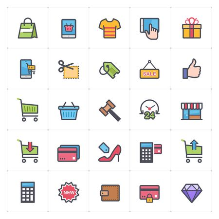 Icon set - shopping and commerce full color outline stroke vector illustration