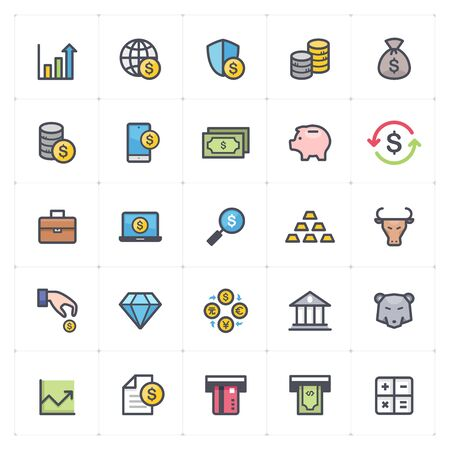 Icon set - money and finance full color outline stroke vector illustration