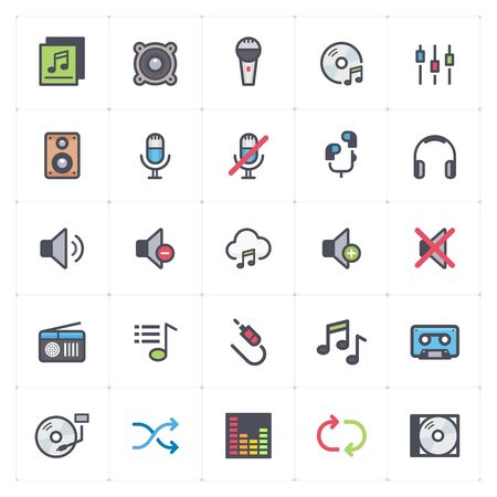 Icon set - voice and audio full color outline stroke vector illustration