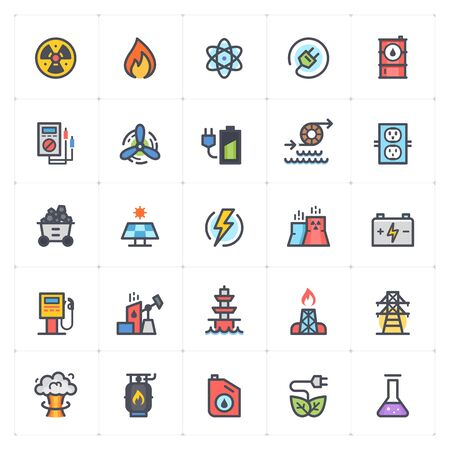 Icon set - energy and power full color outline stroke vector illustration