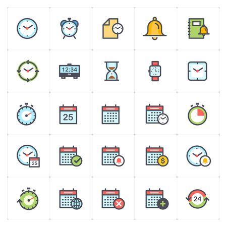 Icon set - time and schedule full color outline stroke vector illustration Stok Fotoğraf - 127973039