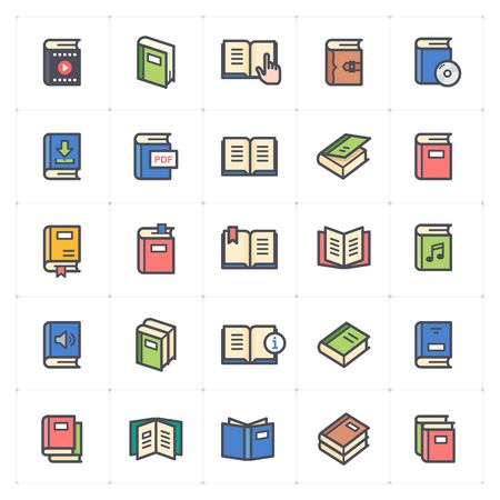 Icon set - book full color outline stroke vector illustration Çizim
