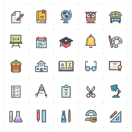 Icon set - school and education full color outline stroke vector illustration Stok Fotoğraf - 127973102
