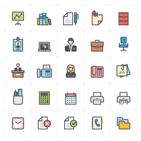 Icon set - office and stationary full color outline stroke vector illustration Stok Fotoğraf - 128579781