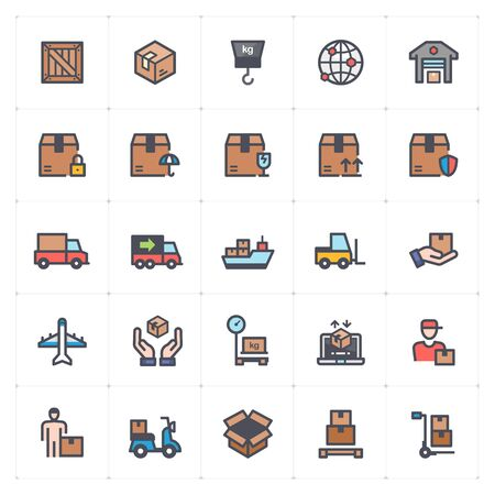 Icon set - logistic and delivery full color vector illustration