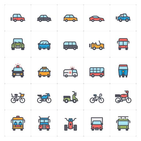 Icon set – auto and transport full color vector illustration Çizim