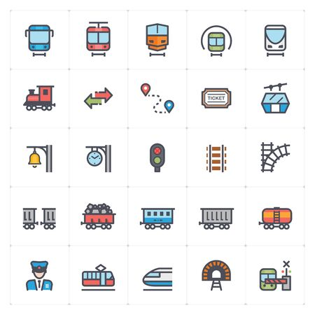 Icon set – train and transport full color vector illustration