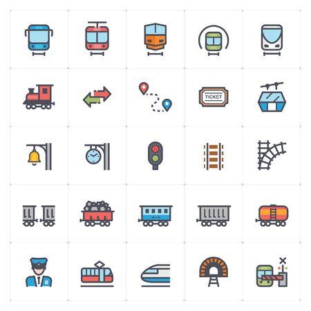Icon set – train and transport full color vector illustration Иллюстрация