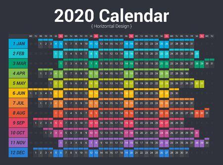 Calendar 2020 planner full color. Horizontal vector design on dark background.