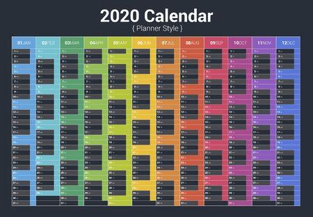 Calendar 2020 planner full color. Vertical vector design on dark background Çizim