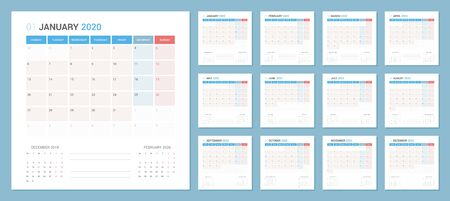 Calendar 2020 Planner Design. Week starts Monday. Square shape simple style. Çizim
