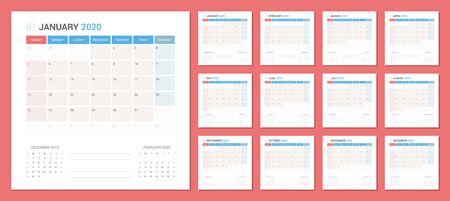 Calendar 2020 Planner Design. Week starts Sunday. Square shape simple style. Çizim