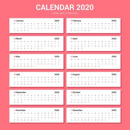 Calendar 2020 simple style. Horizontal vector design. Week Starts Monday. Stok Fotoğraf - 129269829